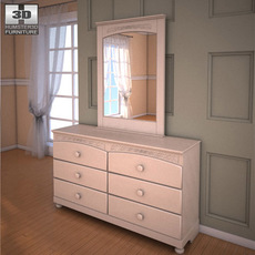 Ashley Cottage Retreat Dresser & Mirror 3D Model
