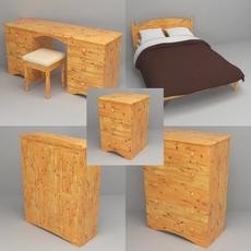 Pine bedroom furniture 3D Model