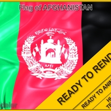 Afganistan 3d Flag 3D Model