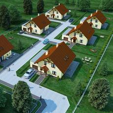 Archexteriors Housing Complex Full Scene 3D Model