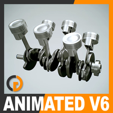 Animated V6 Engine Cylinders 3D Model