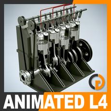 Animated L4 16V Engine Section 3D Model