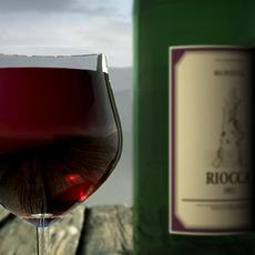 wine set bottle & glas 3D Model