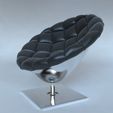 Pod chair quilted leather upholstery 3D Model