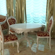 Baroque Style Table and Chairs 3D Model
