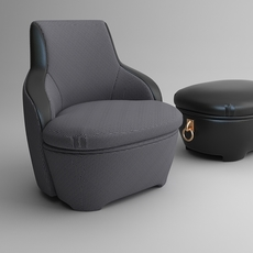 Armchair and ottoman 3D Model
