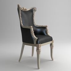 Classical ornate leather armchair 3D Model