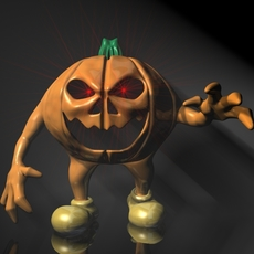 Halloween Jack O Lantern Character Rigged 3D Model