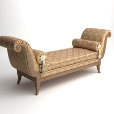Classical Bench with Pillows 3D Model