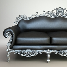 Ornate Baroque Sofa 3D Model