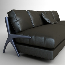 Contemporary Black Leather Sofa 3D Model