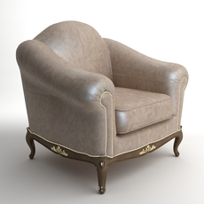 Traditional Style Leather Armchair 3D Model
