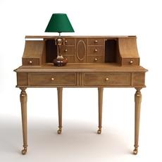 Desk & Lamp Set 3D Model