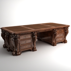 Photorealistic Antique Wooden Desk 2 3D Model