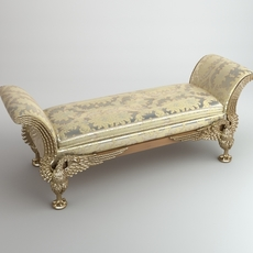 Baroque Style Bench 3D Model