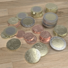 French Euro coins 3D Model