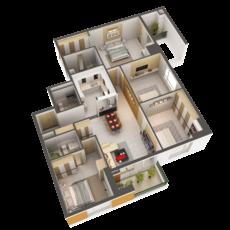 3D Model Detailed House Interior 2 3D Model