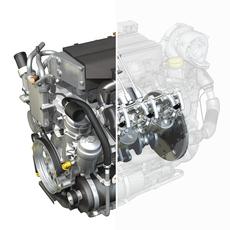 Diesel Turbo Engine with inner workings 3D Model