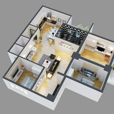 Detailed House Cutaway View 4 3D Model