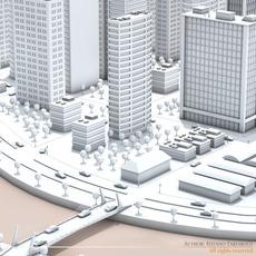 City on river 3D Model