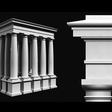 Classical Roman Tuscan Column Entablature & Pedestal 3D Model