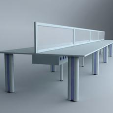Long Workstation Desk 3D Model