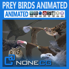 Pack - Prey Birds Animated 3D Model