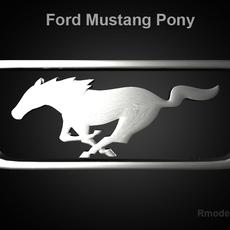Mustang Pony 3d Logo 3D Model