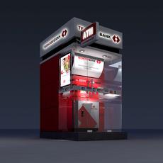 3D Model Detailed ATM Machine Kiosk 3D Model