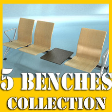 3D Model Connected Seats Waiting Room 3D Model