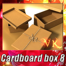 3D Model Photorealistic Cardboard Box & Rope High Res 3D Model