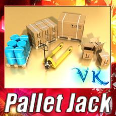 3D Model Pallet Jack with Cartons & Metal Drums 3D Model