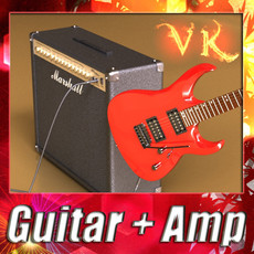 3D Model Electric Guitar with Amplifier & Cable 3D Model
