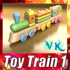 3D Model Wooden Toy Train 3D Model
