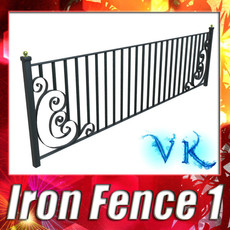 3D Model Wrought Iron Fence 01 High res 3D Model