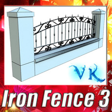 3D Model Wrought Iron Fence 03 High res 3D Model