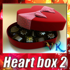 3D Model Chocolate Candy Pieces in Heart Box 3D Model