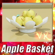 3D Model Yellow Apples in Bowl 3D Model