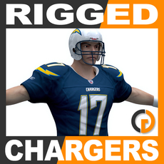 NFL Player San Diego Chargers Rigged 3D Model