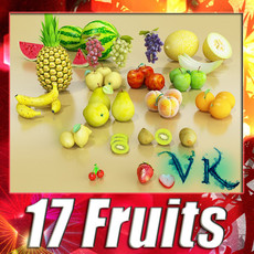 3D Model 17 Fruits Collection High Res Textures 3D Model