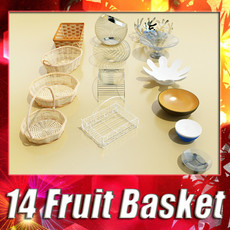 3D Model basket and bowls collection 14 items 3D Model