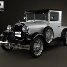 Ford Model A Pickup ClosedCab 1928 3D Model