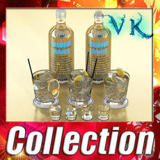 3D Model Vodka Absolut Collection 3D Model