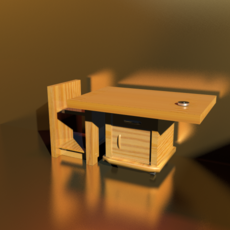 small desk in wood 3D Model