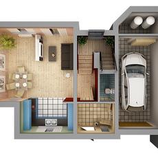 Home Interior Floor Plan 01 3D Model