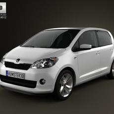 Skoda Citigo 5-door 2013 with HQ Interior 3D Model