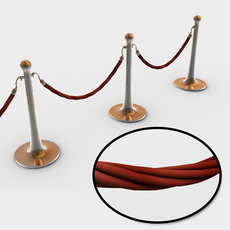 Stanchions and rope barrier 3D Model