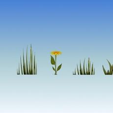 cartoon gras & flower 3D Model