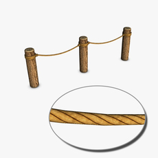 Logs and rope barrier 3D Model