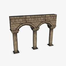 Stone columns with arches module 3D Model